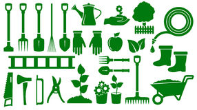 Set isolated green garden tools Stock Photography