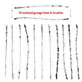 Set of isolated grunge lines and brushes Royalty Free Stock Photography