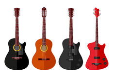 Set of isolated guitars. Flat design. Vector illustration Stock Photography