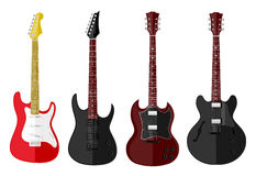 Set of isolated guitars Royalty Free Stock Images