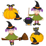 Set of isolated Halloween witch and black cat. Vector illustration, eps Royalty Free Stock Image