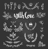 Set isolated hand drawn design elements with stylish lettering with love. Chalkboard set with laurels, wreaths, arrows Royalty Free Stock Photos