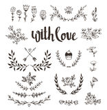 Set isolated hand drawn design elements with stylish lettering with love. Wedding, marriage, save the date, Valentine&. Set isolated hand drawn design Stock Images