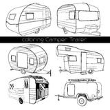 Set isolated Hand Drawn, doodle Camper trailer, car Recreation transport, Vehicles Camp Vans Caravans Lines Icons. Motor. Vector illustration of Set isolated vector illustration