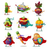 Set of vegetables in traditional costumes of superhero vector illustration