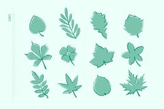 Set of isolated hand drawn leaf icons. vector leaves logo. Collection. thin line contour, seasonal design elements. natural plant symbol Royalty Free Illustration