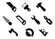 Set of isolated hand tools icons Royalty Free Stock Image