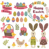Set of isolated happy easter design elements. Vector illustration, eps Stock Photos
