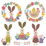 Set of isolated happy easter design elements. Vector illustration, eps Royalty Free Stock Image