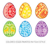 Set of Isolated Happy Easter vector eggs Stock Photos