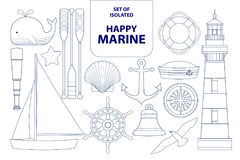 Set of isolated happy marines in dark blue outline and white pla Stock Photos