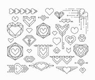 Set of isolated hearts and romantical thin line design elements Royalty Free Stock Photo
