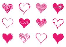 Set of isolated hearts to valentine day stock illustration