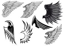 Set of isolated heraldic wings Stock Photos