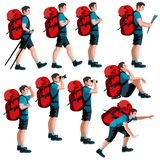 Set of isolated hiker figures. Set of illustrations of isolated hiker figures Stock Photo