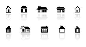 Set isolated home with mirror reflection silhouette Royalty Free Stock Images