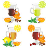 Set of isolated hot drinks vector illustration. Set of isolated hot drinks. Alcoholic and nonalcoholic hot drinks. Vector illustration Royalty Free Stock Images
