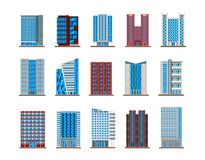 Set of isolated houses or buildings, skyscrapers Stock Photo