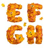 Set of huge animated autumn alphabet letters: E, F, G, H Royalty Free Stock Photo