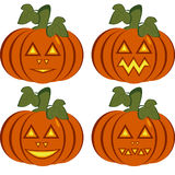 A set of isolated icons of dark orange pumpkins. With carved horrible and smiling faces. Objects can be used as Jack-o-lantern for decorating postcards and Stock Photography