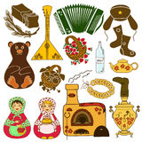Set of isolated icons with Russian symbols. Set of isolated colorful icons with Russian symbols Royalty Free Stock Image