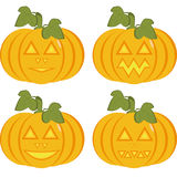 A set of isolated icons of yellow pumpkins. With carved horrible and smiling faces. Objects can be used as Jack-o-lantern for decorating postcards and Stock Photos