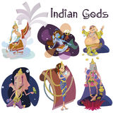 Set of isolated Indian Gods meditation in yoga poses lotus and Goddess hinduism religion, traditional asian culture Stock Image