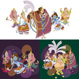 Set of isolated Indian Gods meditation in yoga poses lotus and Goddess hinduism religion, traditional asian culture Stock Images