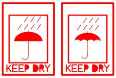 Set of isolated keep dry labels Stock Images