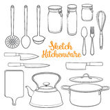 Set of isolated kitchenware and cutlery sketch style vector illustration Royalty Free Stock Photography