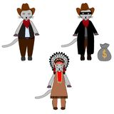 Set isolated kitten cat in cartoon style in costume of american indian, cowboy and mobster gangster robber. Simple flat stock illustration