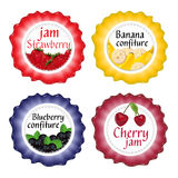 Set of isolated labels for jam and confiture from berries and fr Royalty Free Stock Photos