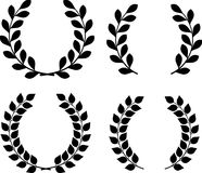 Set of 4 isolated laurel and olive wreaths.  stock illustration