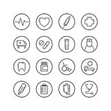 Set of isolated line art icons on the theme of medicine stock illustration