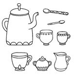 Set of isolated line drawing tea time supplies Royalty Free Stock Photos