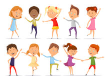 Set of isolated little boys and girls dancing. Set of isolated boys and girls at dance, pair of young people dancing. Little or small male and female pupil doing Stock Photo