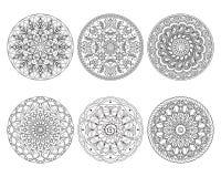 Set of isolated mandalas on white Stock Photo