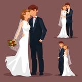 Set of isolated married couple, wedding Royalty Free Stock Photos