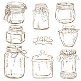 Set of isolated mason jars Royalty Free Stock Image