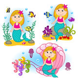 Set of isolated mermaid under the water Stock Photos