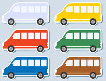 Set of isolated minibus. Set of colorful stickers with isolated minibus silhouettes Stock Image
