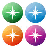 Set  of 4 isolated modern low polygonal buttons - icons - for co Royalty Free Stock Photo
