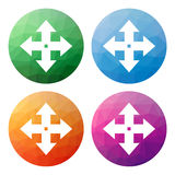 Set  of 4 isolated modern low polygonal buttons - icons - for mo Stock Photography