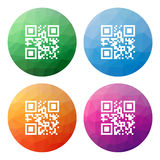 Set  of 4 isolated modern low polygonal buttons - icons - for qr Royalty Free Stock Image