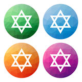 Set  of 4 isolated modern low polygonal buttons - icons - for St Stock Photo