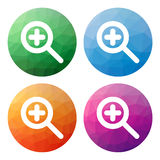 Set  of 4 isolated modern low polygonal buttons - icons - for zo Royalty Free Stock Image