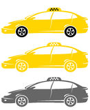 Set of isolated modern taxi cars Stock Photo