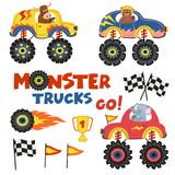 Set of isolated monster trucks with animals part 2. Vector illustration, eps Royalty Free Stock Photos