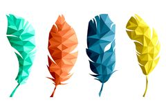 Set of isolated multicolored feathers in low poly graphics on white background royalty free illustration
