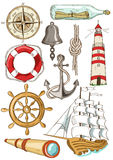 Set of isolated nautical icons Royalty Free Stock Photos